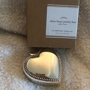 NIB Pottery Barn silver heart jewelry box